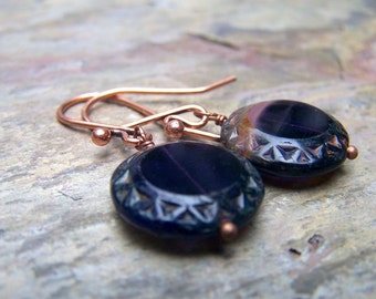 Rose Gold Purple Czech Glass Earrings Victorian Earrings Neo Victorian Jewlery Estate Style Old Hollywood Small Earrings