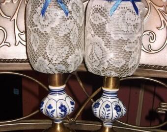 Vintage Blue & White Porcelain Solar Mason Jars