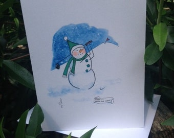 Golfing Snowman Note Cards