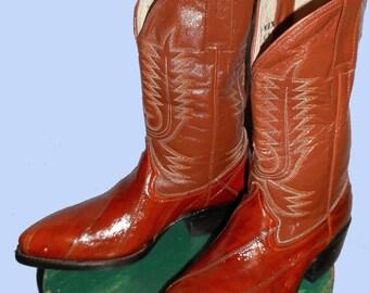 Women's Vintage Copper Penny Eelskin Cowboy Boots Sz 6