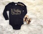 Black and gold half birthday bodysuit ONLY | 1/2 birthday babe | 6 month baby photos | half birthday girl | black bodysuit birthday