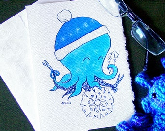 Octopus Snowflake Holiday Card - Knit Hat Making Blue