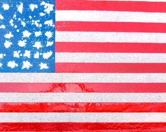 "50""   Recycle paper (upcycled art)  Abstract American Flag #5"