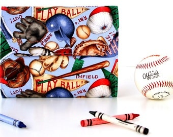Play Ball Deluxe Crayon Wallet, Easter gift, Ready to ship, Includes crayons and paper pad, Crayon holder, Art wallet, Coloring toy