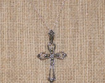 Sterling Silver Marcasite Cross with Chain and Free USA Shipping!