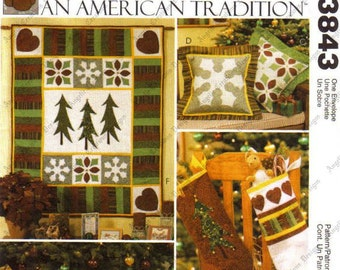 Sew & Make McCall's 3843 SEWING PATTERN - Christmas Decorations Quilt Pillows Tree Skirt Stockings