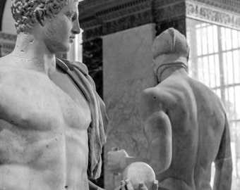 Male Statues Two Classical Museum Nudes Naked Marble Men Athletes Greek Roman Statuary Stone Sculpture Black & White Photography Photo Print