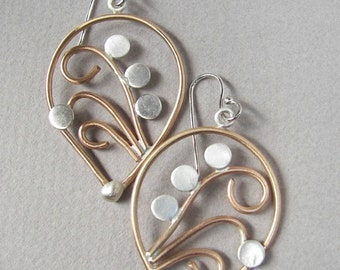 Handmade, art-nouveau inspired, abstract flower and stem gold-filled and sterling silver tear-drop earrings