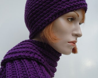 Dark Violet Purple - Hat and Scarf set - Skull Cap and Scarf - Crochet Hat and Scarf
