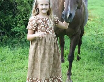 Girls Handmade Modest Brown Horse Lovers Short Sleeve Peasant Dress Various Sizes