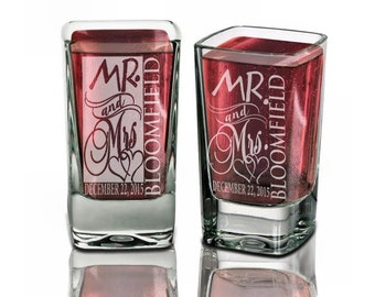 Wedding Shot Glasses Personalized  Mr Mrs Shot Glass Custom Engraved Wedding Party Name Date Weddding Favor Guests Idea Bulk Discount