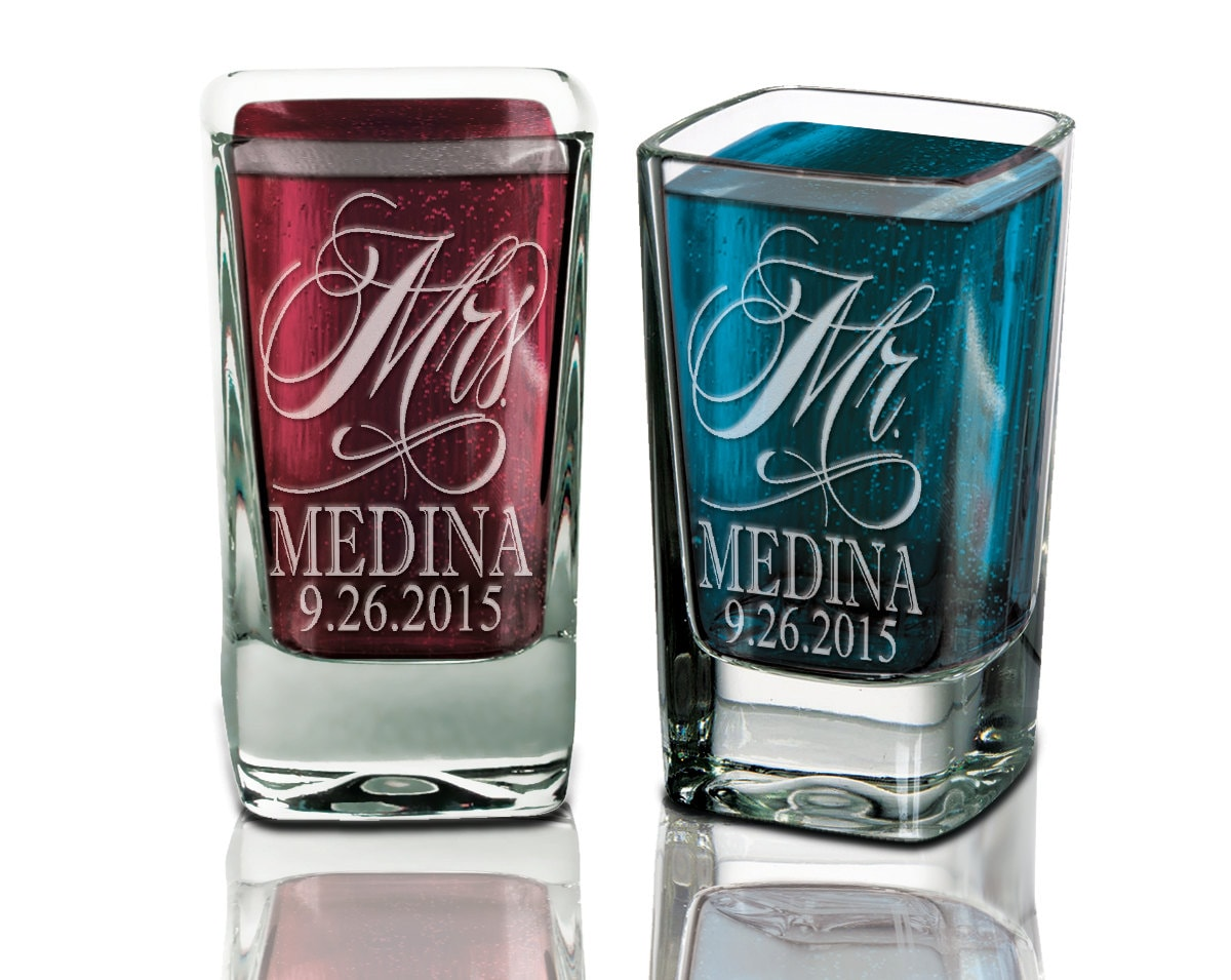 set of 2 personalized wedding shot glasses wedding gifts