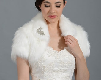 Ivory faux fur bolero faux fur shrug Wedding bolero wedding jacket bridal bolero bridal jacket wedding shrug wedding jacket FB003-Ivory