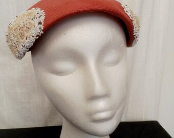 Vintage 1950s Coral Fine Straw Hat with Lace and Beads