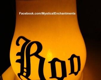 Large Glass Halloween Lantern BOO !