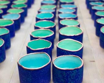 Ceramic candle holder Matte Velvet Purple Blue with copper line, ONE ring holder, handmade pottery home decor, Minimal Modern Wedding Favor