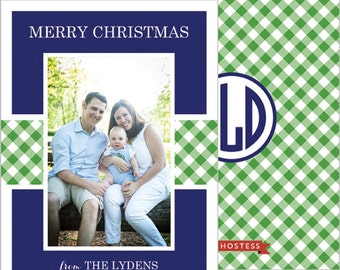 Preppy Gingham Check Vertical Holiday Photo Card | Set of 20 Double-Sided Cards | Red or Navy Blue | You select back design