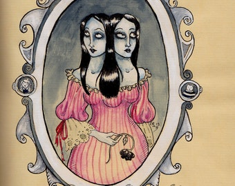 Gothic Conjoined Twins - ORIGINAL ART