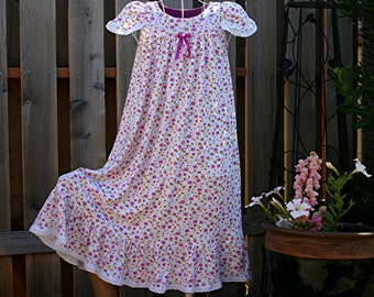 FREE SHIPPING /Size 8-Girls **Last One** 100% Cotton Knit Nightgown/Long-Full Length, Eyelet Trim// Ready to Ship //Quality mid-weight(9 oz)