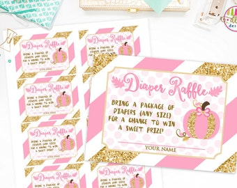 Printable PDF Diaper Raffle Ticket, INSTANT DOWNLOAD, Printable Diaper Raffle, Baby Shower, Little Pumpkin, Pink and Gold, Baby Girl