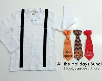Boys Christmas Shirt. Toddler Boy Halloween Shirt. Boy Thanksgiving Tie and Suspenders. Boy Christmas Outfit. Halloween Outfit. Chevron.