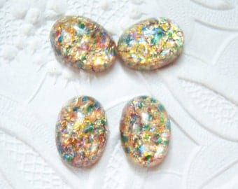 2 - 14x10mm pink, blue multi colored Czech glass cabochons - TG136
