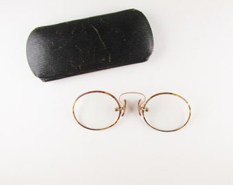 Antique Spectacles: Tortoise Shell Pince Nez Glasses with Original Case