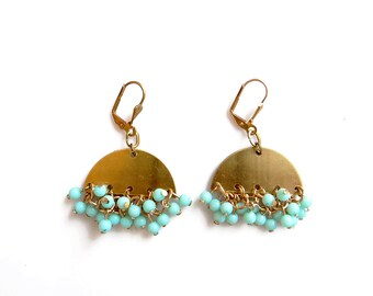 Mint Statement Earrings, Beaded Cluster Earrings, Brass Jewelry