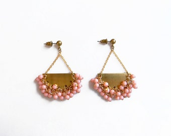Pink Gold Statement Earrings, Chandelier Beaded Earrings, Cluster Earrings, Coral Pink Earrings