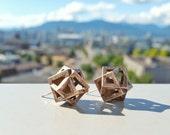 Cubed Earrings // 3d printed geometric earrings // Studs, Posts, Stick Earrings // Steel or sterling silver
