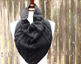Cabled Bandana Cowl Knitting Pattern PDF instant download