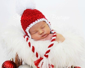 Crochet Baby Boy Girl Christmas Candy Cane Pom-Pom Earflap Hat, Made To Order Newborn 0-3 M 3-6 M Holiday Santa Cap Photo Photography Prop