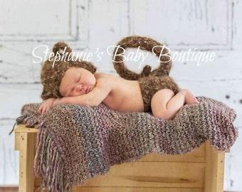 Crochet Newborn Baby Boy Girl Furry Monkey Hat and Diaper Set, Custom Made, Jungle Beanie Handmade Photo Photography Prop Shower Gift