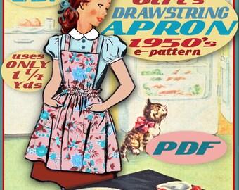 APRON Girls E-Z Drawstring Apron e-Pattern 1950s - Vintage Pdf Instant Download - Easy Child Girl Kid pattern