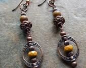 Brown stone earrings, Elephant Jasper, fancy dangle earrings, spicy mustard, autumn browns, drop earrings, fall harvest, bohemian jewelry