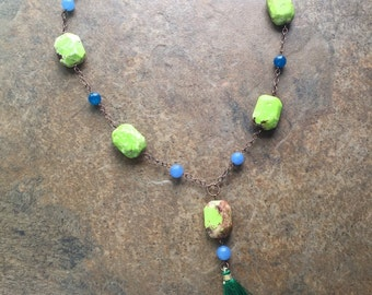 Tassel necklace, emerald green silk tassel, statement necklace, bohemian style, blue agate, lime green magnesite, wire wrapped chain, boho