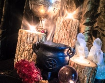 """Cast Iron Pentacle Cauldron with Lid 4""""H x 3""""D ~ Cauldron ~ Perfect for Loose Incense and other Burnables~ Smudge Pot ~"""