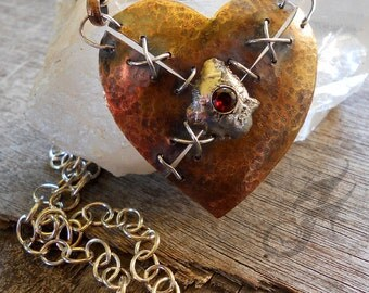 Metalwork Heart Necklace ~ Mended Heart Necklace ~  Hammered Brass, Sterling Silver and Genuine Red Garnet on Sterling Silver Chain #N0578