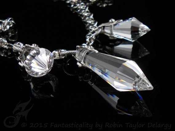 FIRE & ICE Triple Prism Necklace Clear Lead Crystal Chandelier Drops Spires Spikes Silver Plated Brass Chain N0541 Robin Taylor Delargy