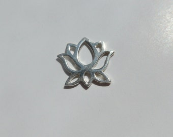 Handmade 925 Sterling Silver Yoga Lotus Pendant Charm Connector, 12mm, PC-0071
