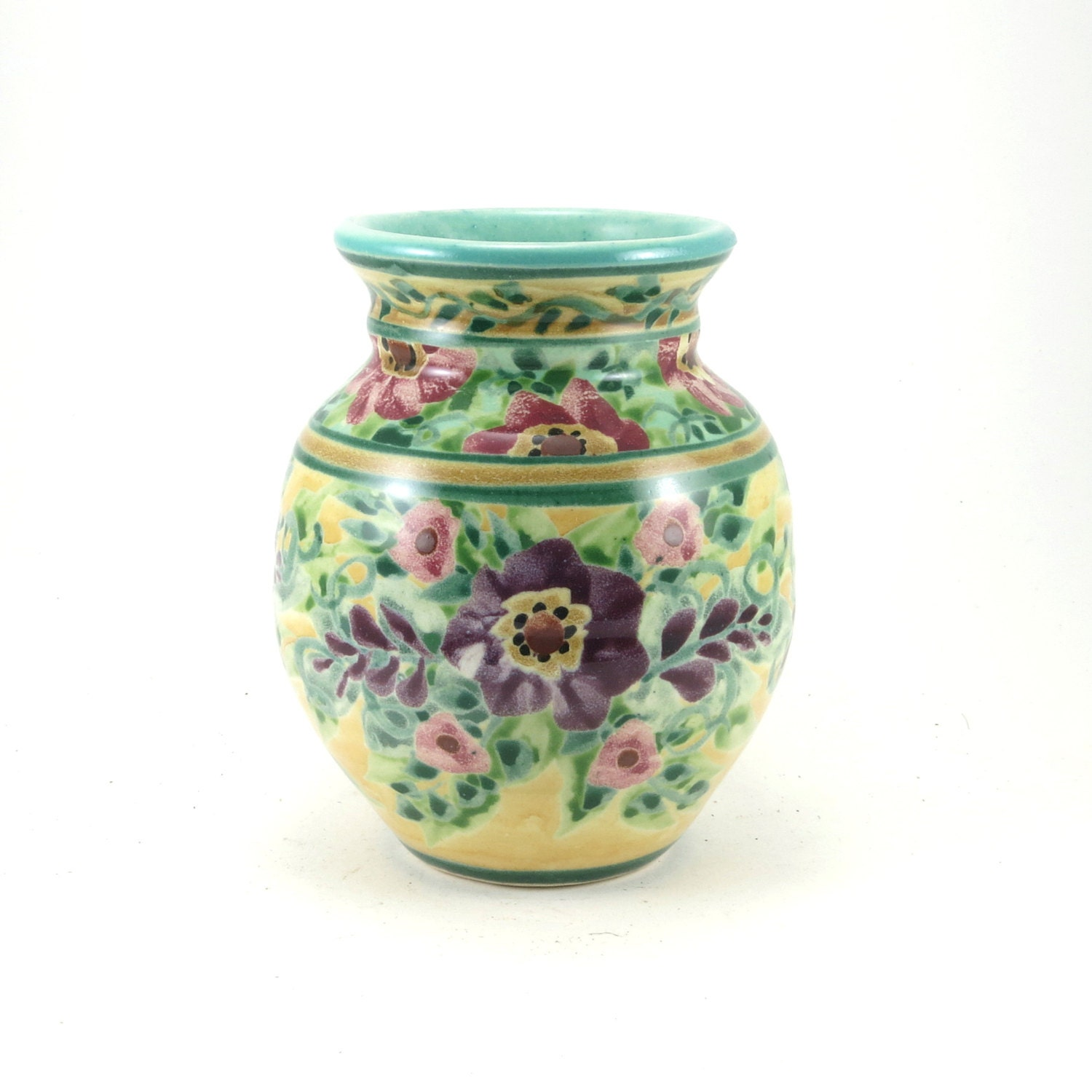 Yellow flower vase small decorative ceramic bud vase for Decoration vase