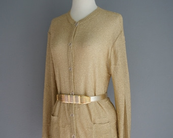Vintage Christian DIOR GOLD Metallic 60s Cardigan Slouchy Light Weight Sweater (m)