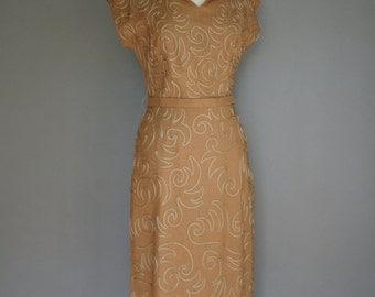 Vintage 50s LATTE Justin McCarthy Linen MIDI Dress (m)