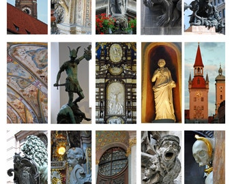 Germany, Digital Collage Sheet, Domino, Old World Germany Sculpture and Architecture