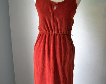 70s Rust Terry Cloth Sleeveless Dress with Side Button Slit