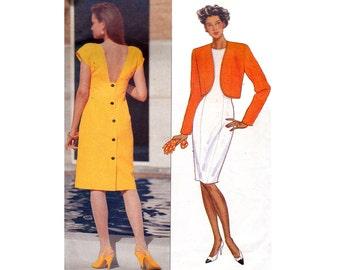 90s Sheath Dress & Bolero Pattern Butterick 4847 Size 6 8 10 Bust 30 1/2 31 1/2 32 1/2 inches