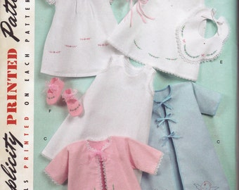 50s Baby Layette Pattern Simplicity 2900 Re Issue Sewing Pattern Size XXS - L UNCUT Factory Folds