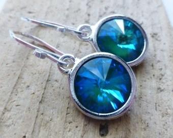 Teal Ocean Blue Prism Crystal Earrings, Crystal Rivoli Round Earrings, Sterling Silver Dangle Earrings, Mermaid Earrings, Aurora Borealis