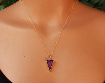 Magenta Arrowhead Druzy Necklace, Minimalist, Natural Druzy Quartz Necklace, Quartz Gemstone, Druzy Pendant Necklace, Gold, Dainty Necklace