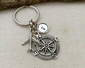 Compass Initial Keychain. Airplane Keychain, Travel Keychain , Hand stamped Keychain, Bestfriend Gift, Handmade, Gift Ideas